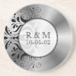 Grey Stainless Steel Look Black Floral Accent Drink Coasters