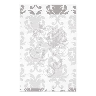 grey white baroque damask customized stationery
