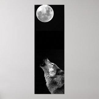 Grey Wolf & Moon Panoramic Poster Print