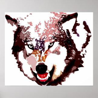 Grey Wolf Pop Art Poster - Wild Animals