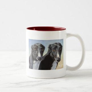 """Greyhound Dog """"Dancing Sisters"""" Mug Cup"""