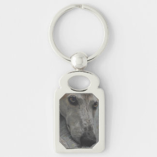Greyhound eyes keychain Silver-Colored rectangle key ring