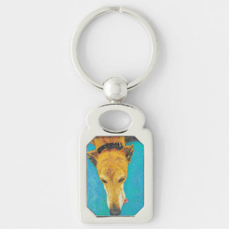 Greyhound tongue (ETS) keychain Silver-Colored Rectangle Key Ring
