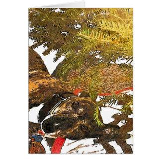 Greyhound under the Christmas tree Greeting Card