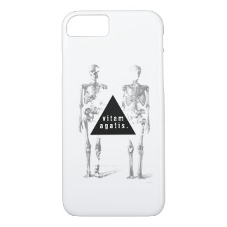 Greyscale human skeleton - 'live your life' iPhone 7 case