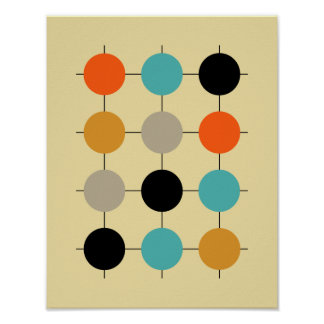 Grid Circles Mid Century Modern Styled Poster