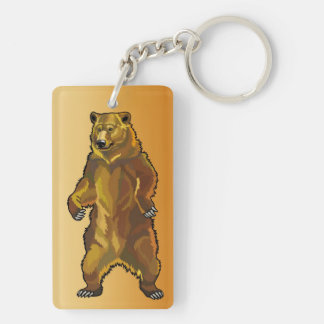 grizzly bear Double-Sided rectangular acrylic key ring