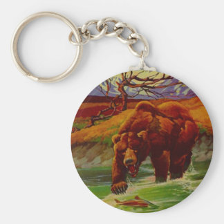 Grizzly Bear Fishing Wildlife Bears Gifts Gift Basic Round Button Key Ring