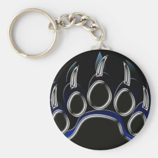 Grizzly Bear Paw Basic Round Button Key Ring