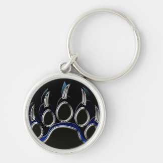 Grizzly Bear Paw Silver-Colored Round Key Ring