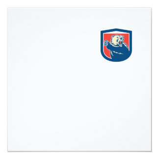 Grizzly Bear Swiping Paw Shield Retro 13 Cm X 13 Cm Square Invitation Card