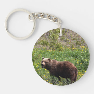 Grizzly in the Dandelions Single-Sided Round Acrylic Key Ring