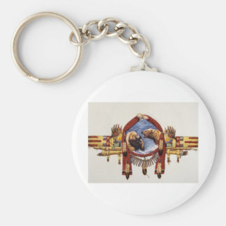 Grizzly Indian Shield Basic Round Button Key Ring