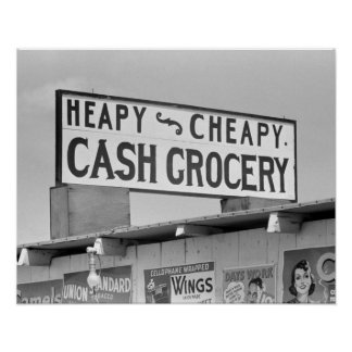 Grocery Sign, 1939. Vintage Photo Poster