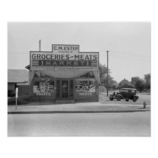 Grocery Store, 1938. Vintage Photo Poster