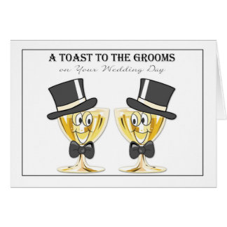 Grooms Champagne Toast, Gay Male Wedding Congrats Greeting Card