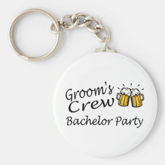 Grooms Crew Beer Jugs Basic Round Button Key Ring