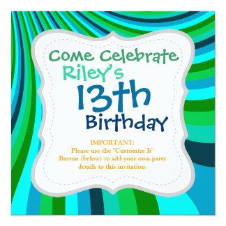 Groovy Blue Green Rainbow Slide Stripes Retro 13 Cm X 13 Cm Square Invitation Card