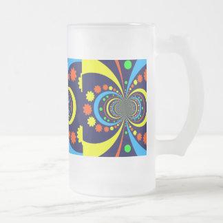Groovy Bug Eyes Stars Stripes Blue Orange Frosted Glass Mug