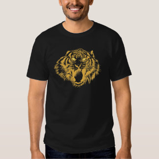 Growling Tiger in Orange With Yellow Eyes T Shirts