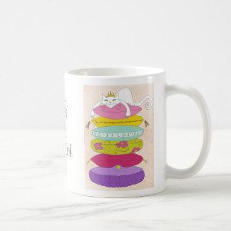Grumpy princess cat and the pea cartoons basic white mug