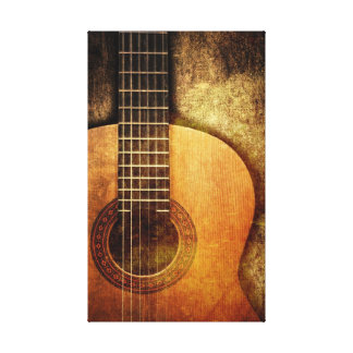 Grunge Acoustic Guitar Stretched Canvas Prints