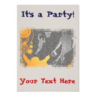 Grunge Basketball Players and Fan 13 Cm X 18 Cm Invitation Card