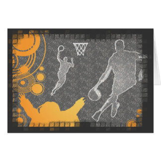 Grunge Basketball Players and Fan Note Card