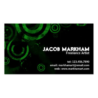 Grunge Circles - Green Pack Of Standard Business Cards
