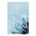 Grunge Floral Design - Light Blue Custom Stationery