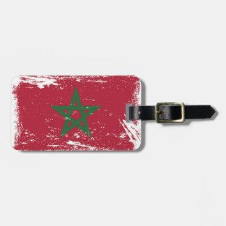 Grunge Morocco Flag Travel Bag Tags