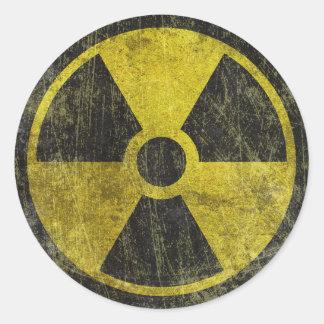 Grunge Radioactive Symbol Round Sticker