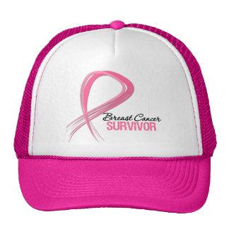 Grunge Ribbon Breast Cancer Survivor Cap