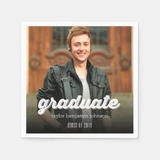 Grunge Script Simple Graduate Graduation Photo Disposable Napkins