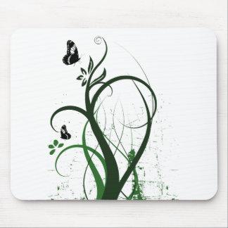 Grunge Swirls 2 Butterflies Green Mouse Pad