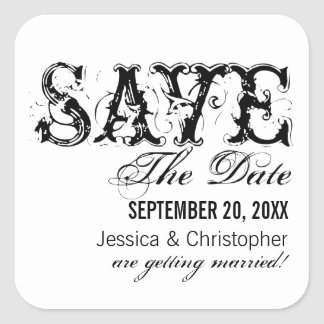 Grunge Typography Save the Date Stickers, Black Square Sticker