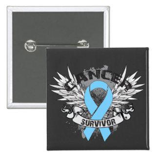 Grunge Winged Ribbon Prostate Cancer Survivor 15 Cm Square Badge