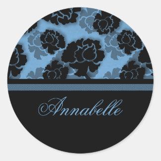 Grungy Floral Decadence Stickers, Light Blue Round Sticker