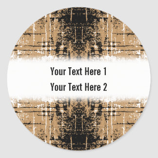 Grungy Look Brown Abstract. Round Sticker