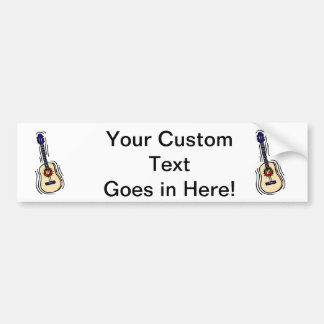 guitar acoustic simple red blue.png bumper sticker