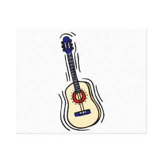 guitar acoustic simple red blue.png gallery wrapped canvas