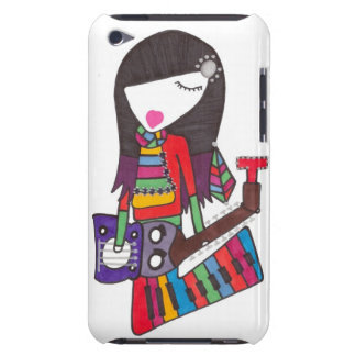 guitar & piano girl on ipod touch case