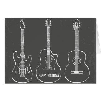 Guitar trio retro grunge music birthday greeting card