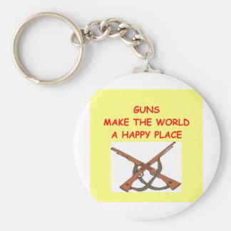 guns basic round button key ring