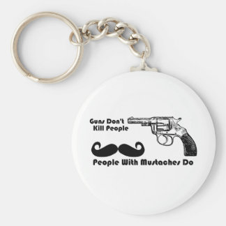 Guns Don't Kill People, People With Mustaches Do Basic Round Button Key Ring