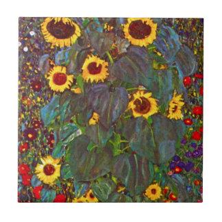 Gustav Klimt Farm Garden with Sunflowers Tile