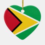 Guyana Flag Heart Ceramic Heart Decoration