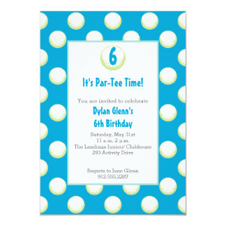 Guys Golf Ball Party Invite- Lime Green and Blue 13 Cm X 18 Cm Invitation Card