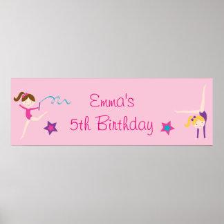 Gymnastics Girls Personalized Birthday Banner Poster