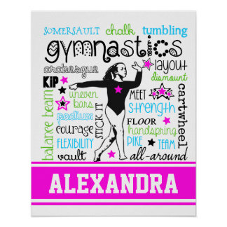 Gymnastics Typography with Monogram Poster